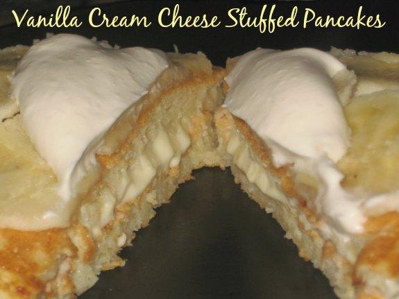 Vanilla Cream Cheese Stuffed Pancakes