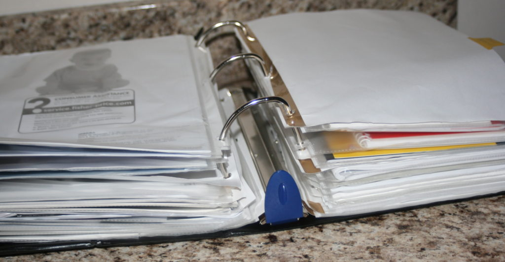 Organizing with Binders and Page Protectors