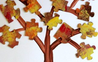 Fall Recycled Puzzle Trees