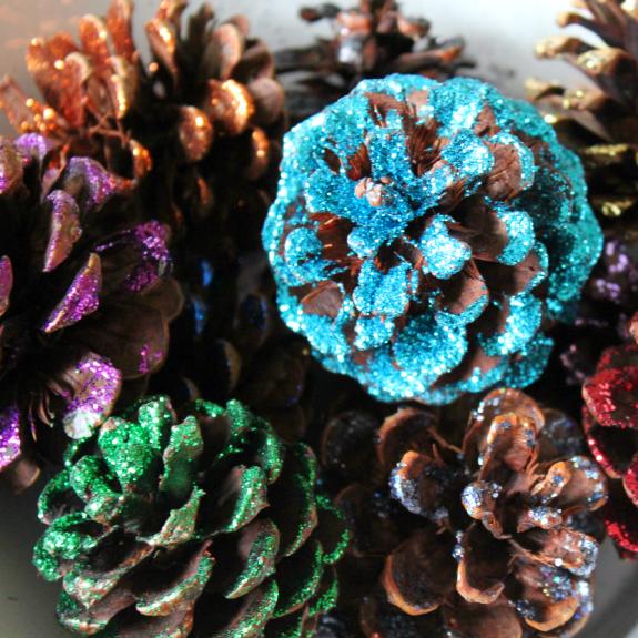 glitter pinecones
