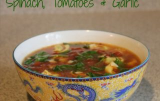 Tortellini Soup with Spinach, Tomatoes and Garlic