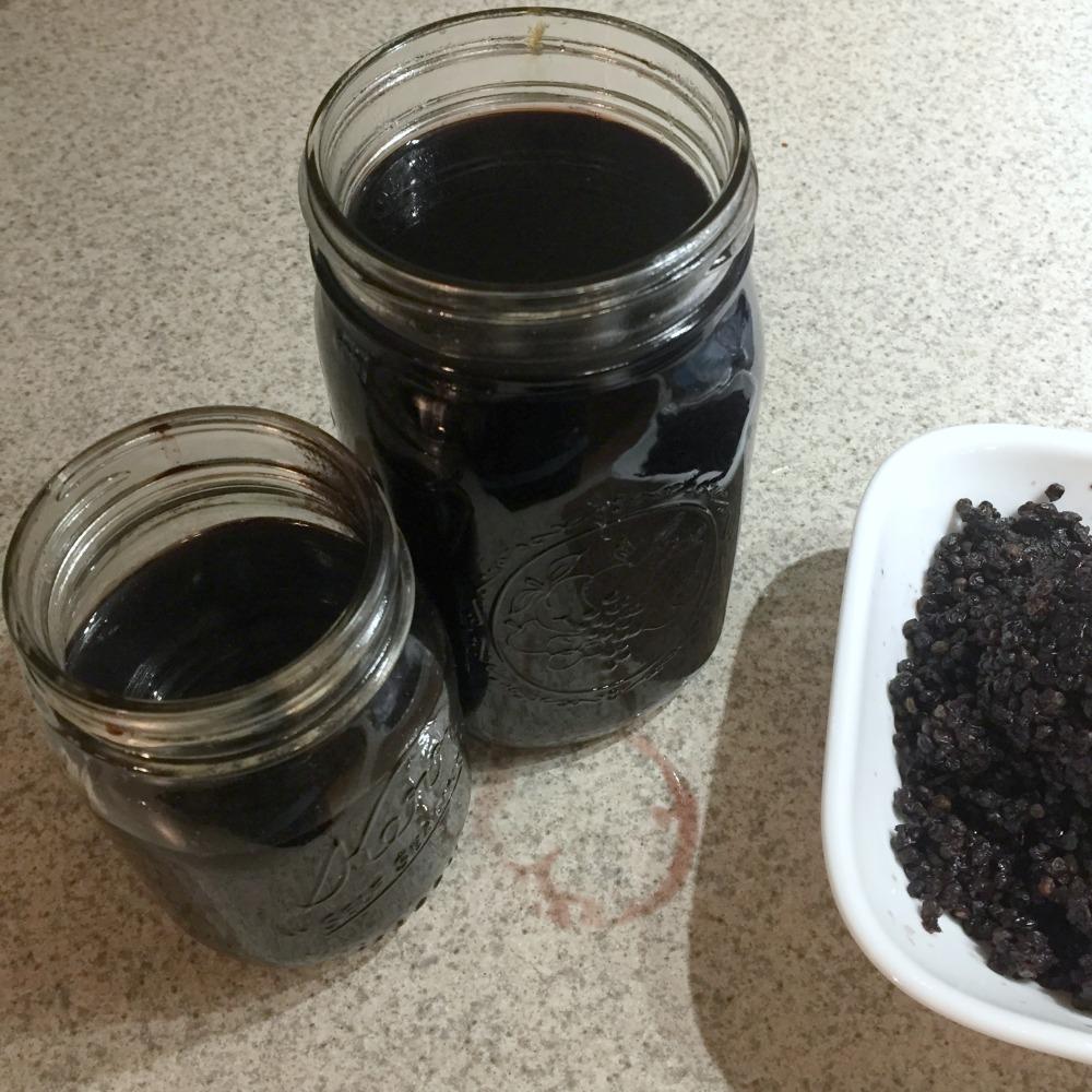 Homemade Elderberry Syrup Jars
