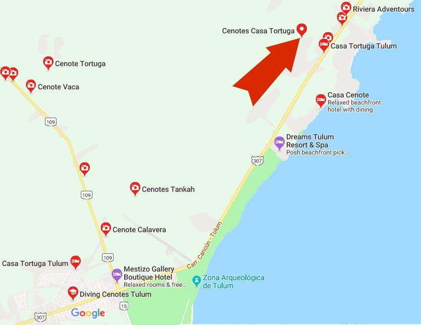 Casa Tortuga Cenote Map
