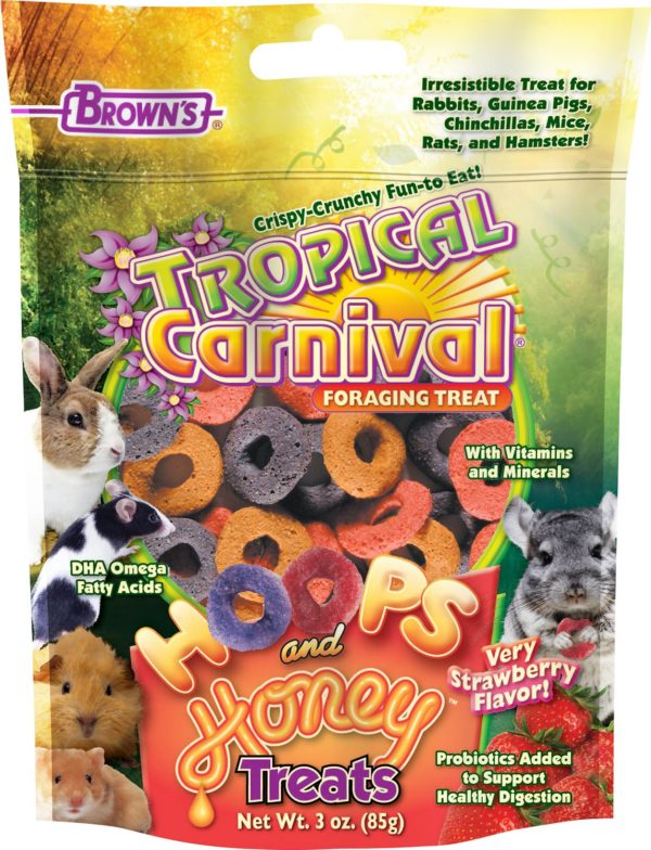Brown's Tropical Carnival Hoops & Honey Strawberry Flavor Small Animal Treats