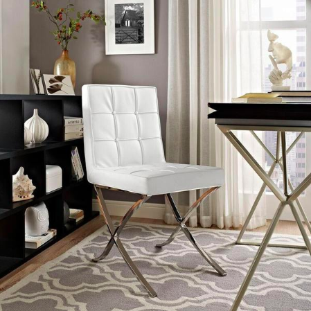White Barcelona-style dining chair