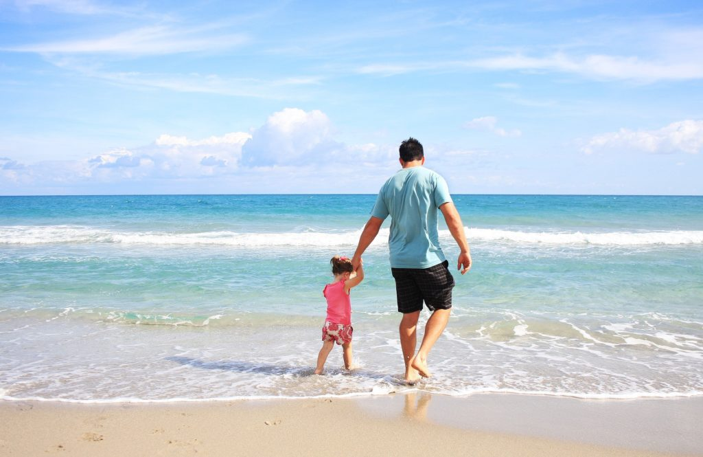 Beach hot summer father child vacation